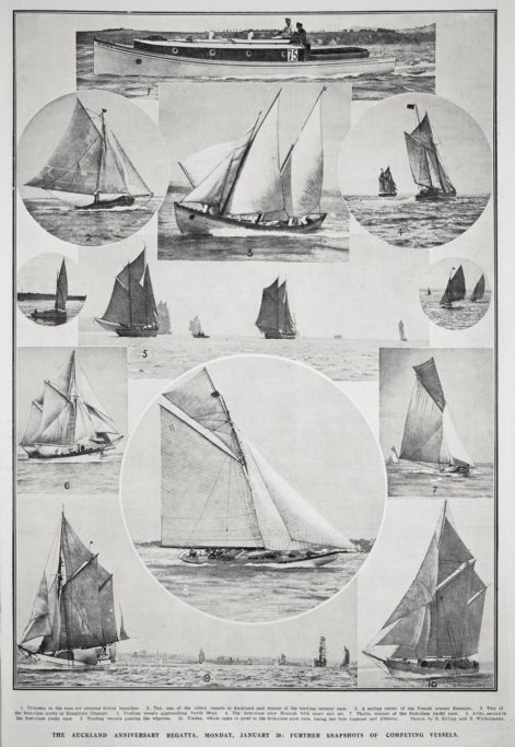 Snapshots of competing vessels from the Auckland Weekly News.
