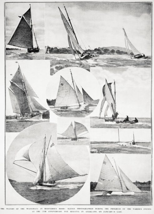 A collection of vessels that took part in Auckland's Anniversary Day Regatta on 29 January 1917.