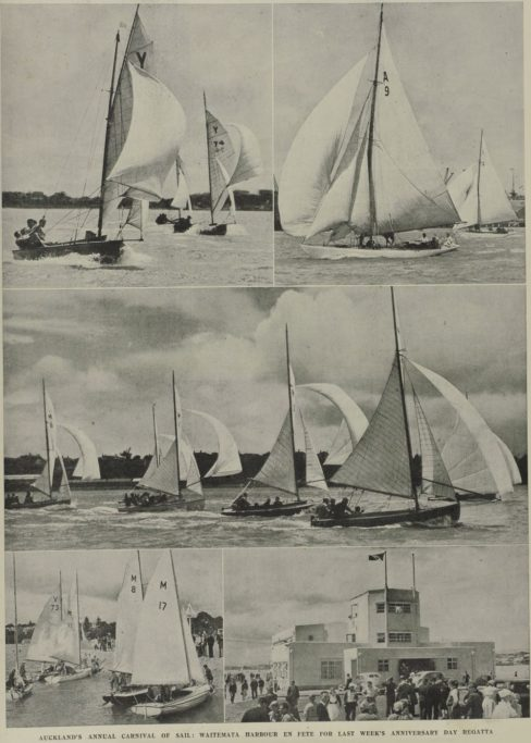 Auckland's annual carnival of sail - Waitemata Harbour en fete for the 1941 Anniversary Regatta.