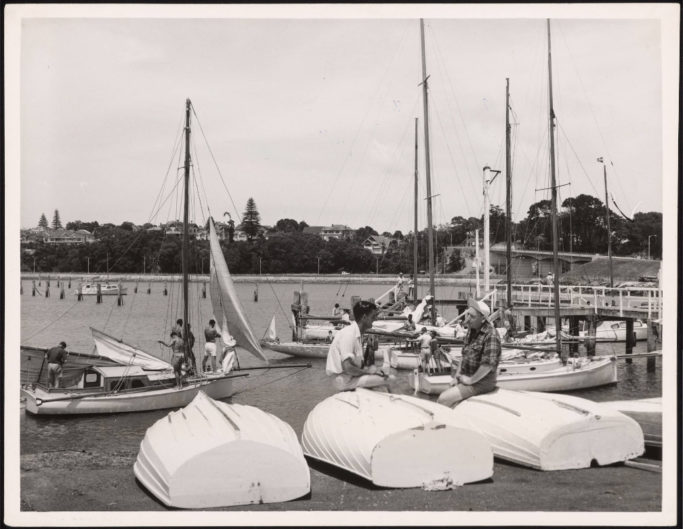 Yachts being prepared to race in the Auckland Anniversary Day Regatta.