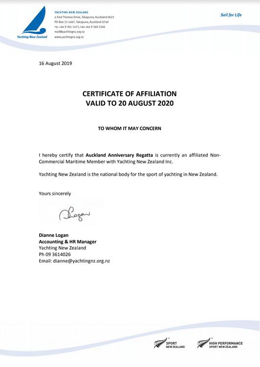 Yachting New Zealand Affiliation